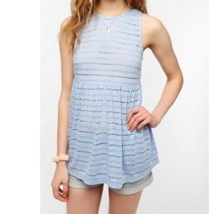 UO Pins and Needles Babydoll Eyelet Mesh Tank Top